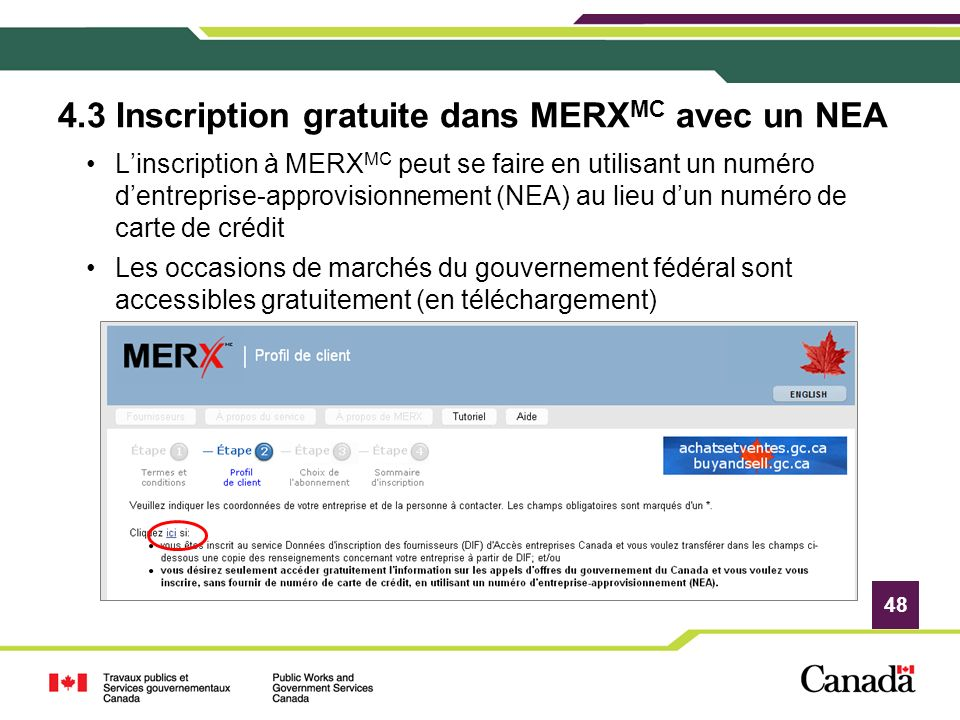 4.3 Inscription gratuite dans MERXMC avec un NEA