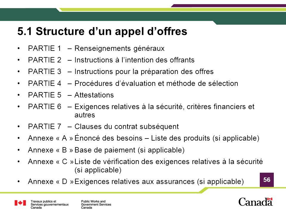 5.1 Structure d'un appel d'offres