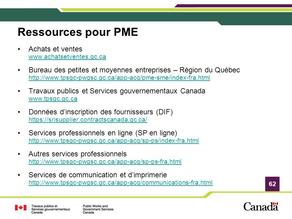 Ressources pour PME Achats et ventes www.achatsetventes.gc.ca