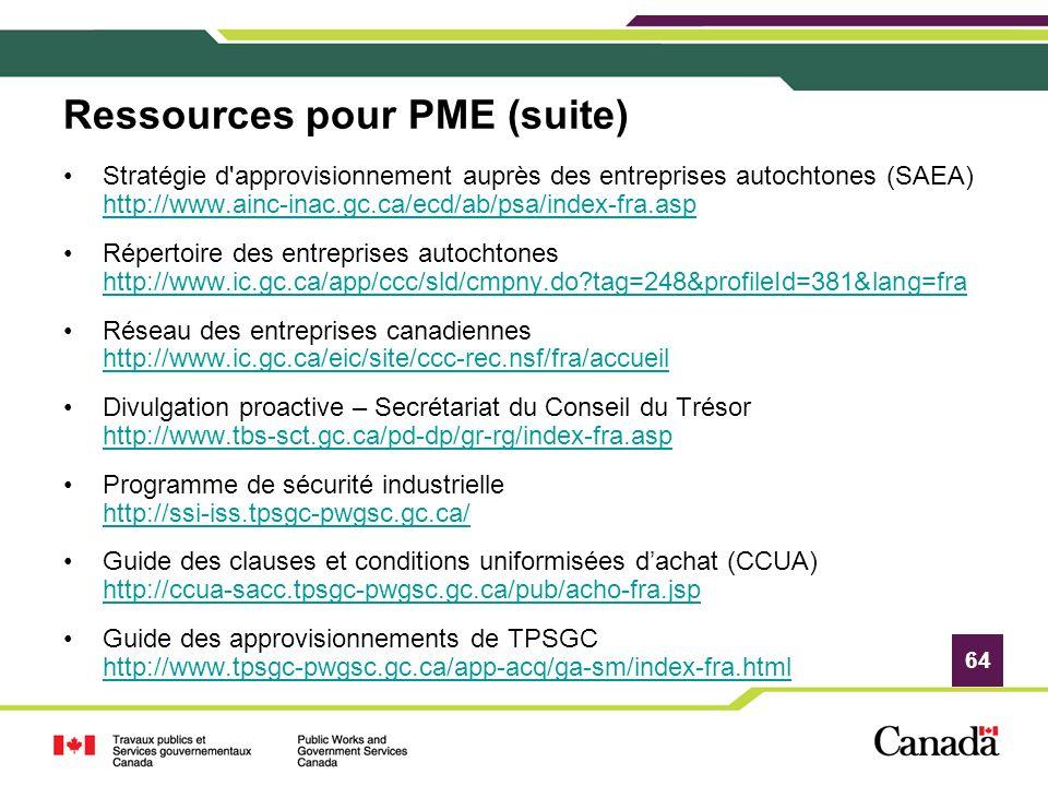 Ressources pour PME (suite)