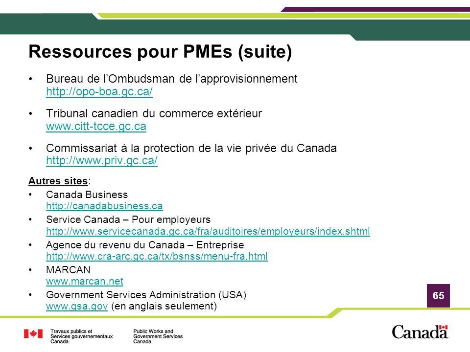 Ressources pour PMEs (suite)