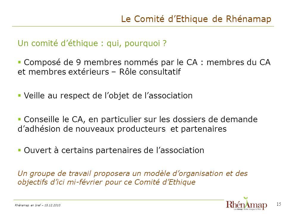 Le Comité d'Ethique de Rhénamap