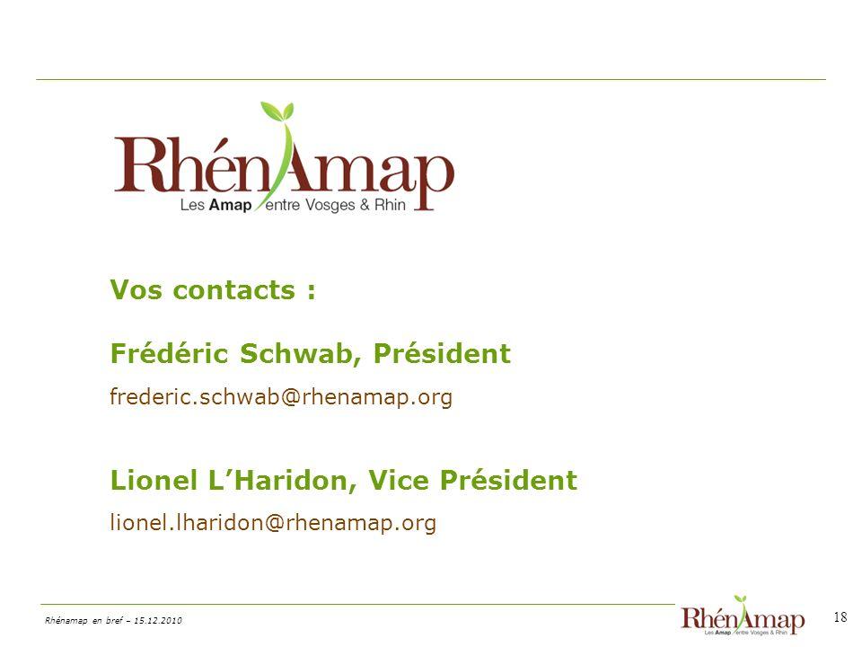 Vos contacts : Frédéric Schwab, Président