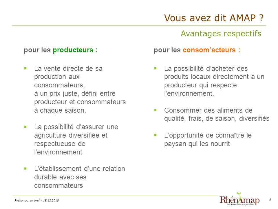 Vous avez dit AMAP Avantages respectifs pour les producteurs :