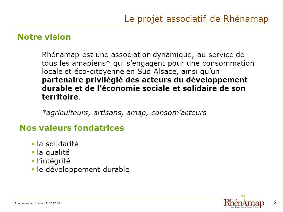 Le projet associatif de Rhénamap