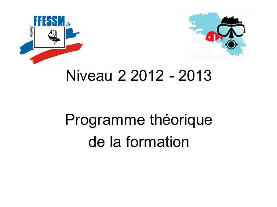Niveau 2 2012 - 2013 Programme théorique de la formation