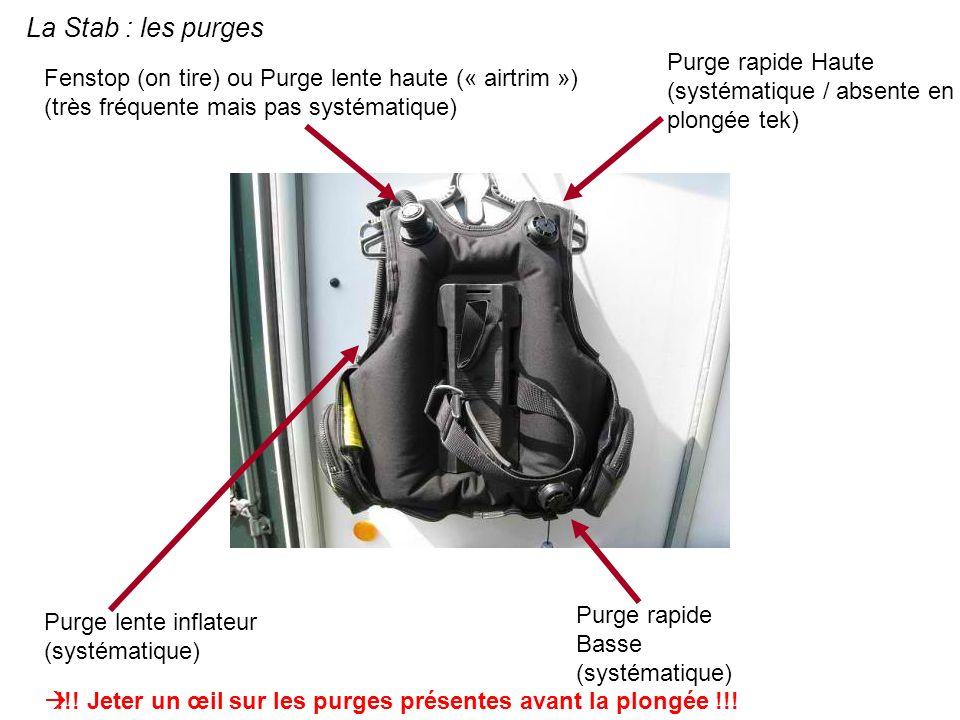 La Stab : les purgesPurge rapide Haute (systématique / absente en plongée tek)