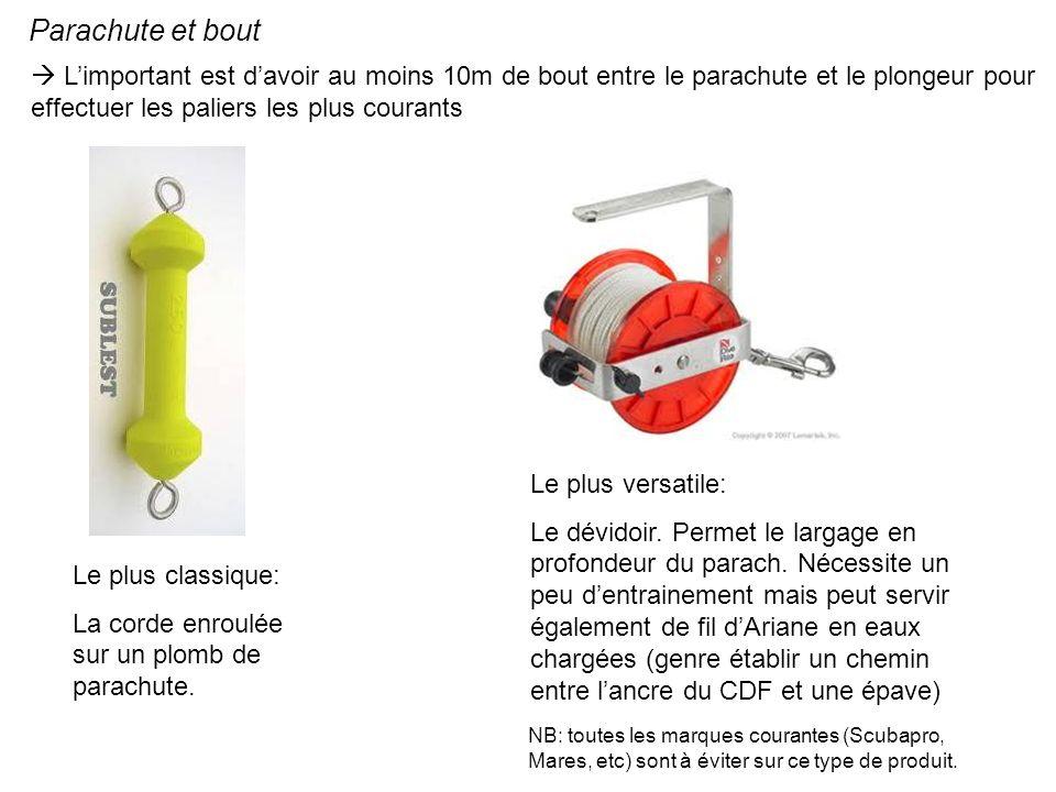 Parachute et bout L'important est d'avoir au moins 10m de bout entre le parachute et le plongeur pour effectuer les paliers les plus courants.