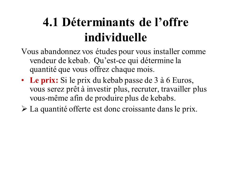 4.1 Déterminants de l'offre individuelle
