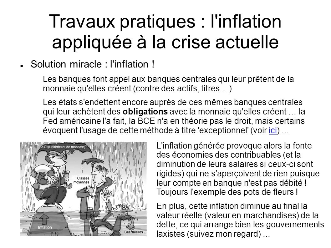 Travaux pratiques : l inflation appliquée à la crise actuelle