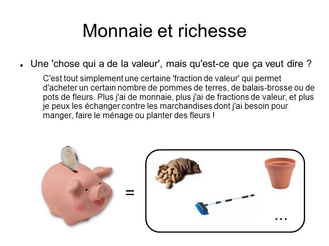 Monnaie et richesse Une chose qui a de la valeur , mais qu est-ce que ça veut dire