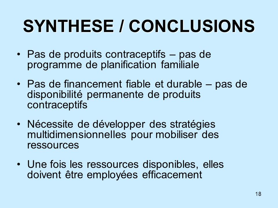 SYNTHESE / CONCLUSIONS