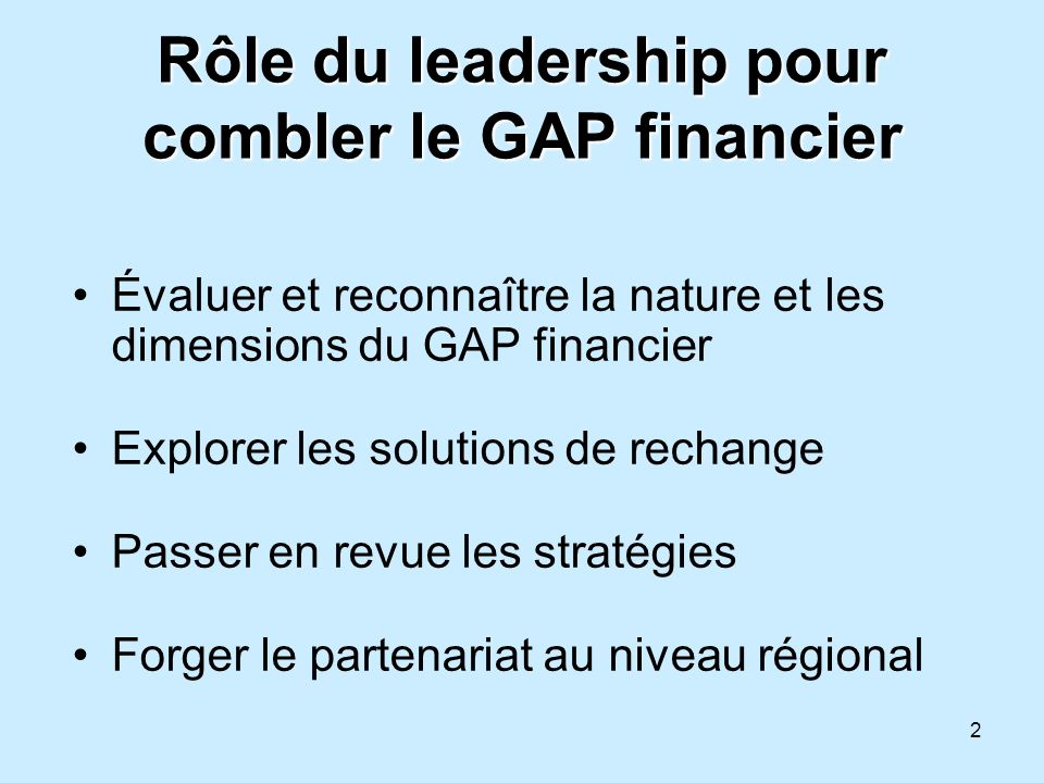 Rôle du leadership pour combler le GAP financier