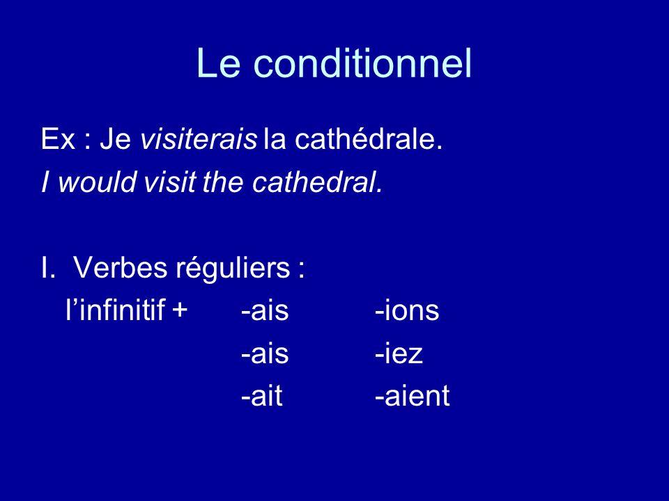 Le conditionnel Ex : Je visiterais la cathédrale.