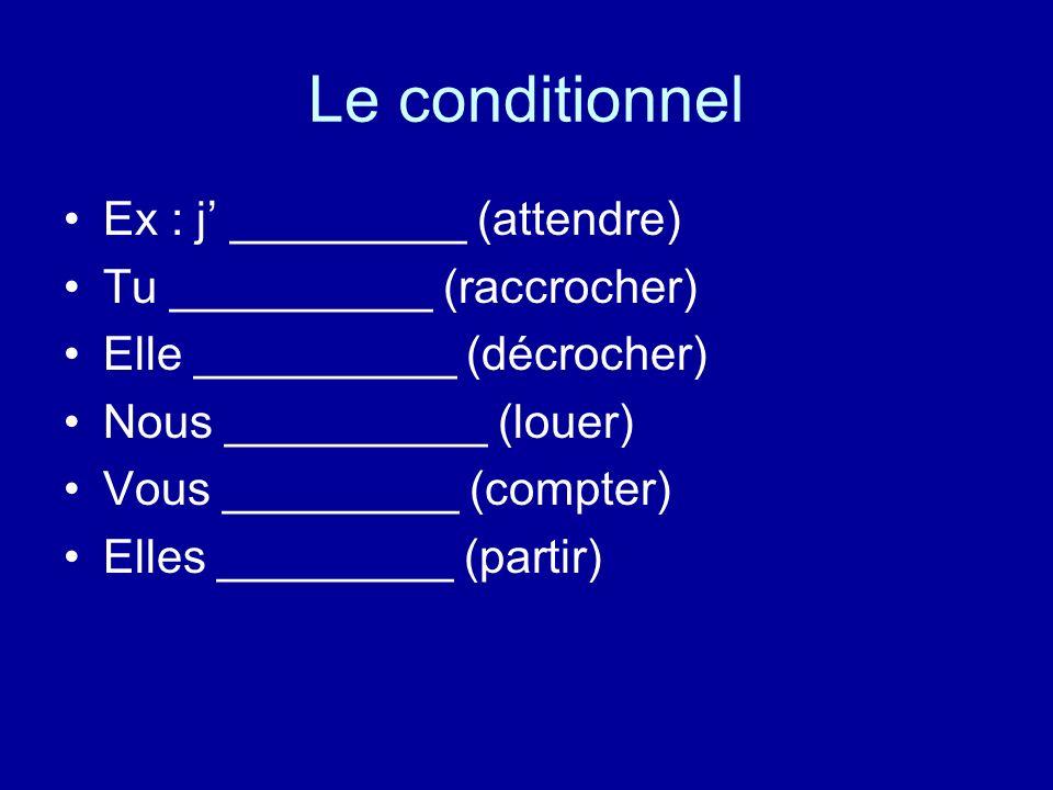 Le conditionnel Ex : j' _________ (attendre)