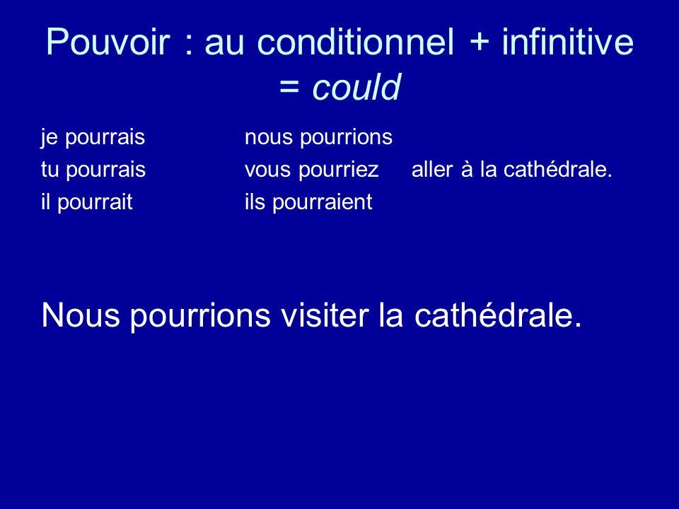 Pouvoir : au conditionnel + infinitive = could