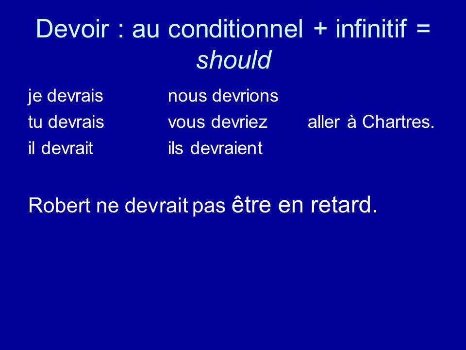 Devoir : au conditionnel + infinitif = should