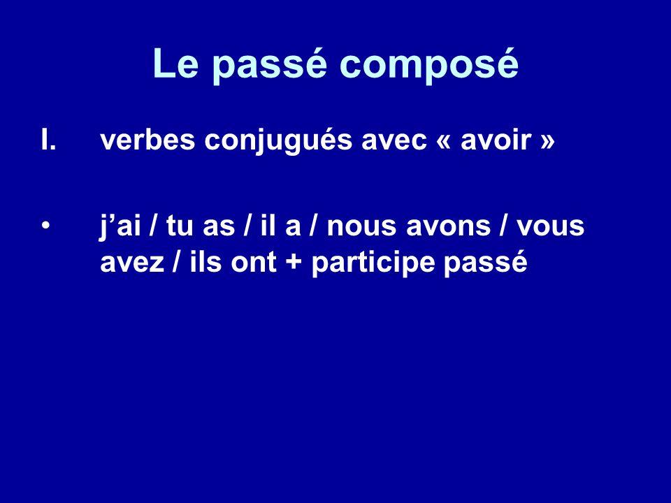 Le passé composé verbes conjugués avec « avoir »