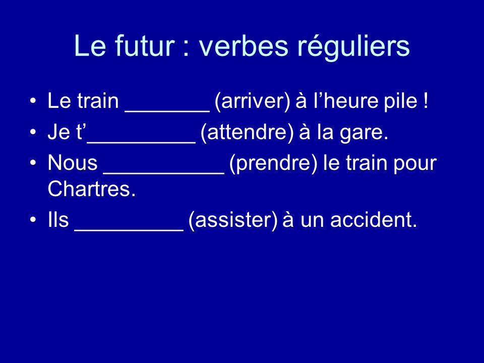 Le futur : verbes réguliers