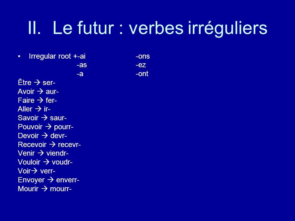 II. Le futur : verbes irréguliers