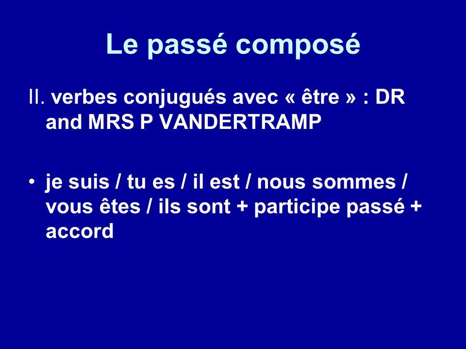 Le passé composé II. verbes conjugués avec « être » : DR and MRS P VANDERTRAMP.