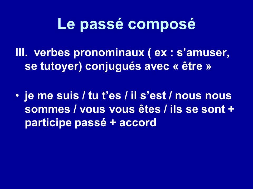 Le passé composé III. verbes pronominaux ( ex : s'amuser, se tutoyer) conjugués avec « être »