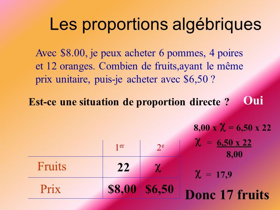  = 6,50 x 22  = 17,9 Les proportions algébriques Donc 17 fruits Oui