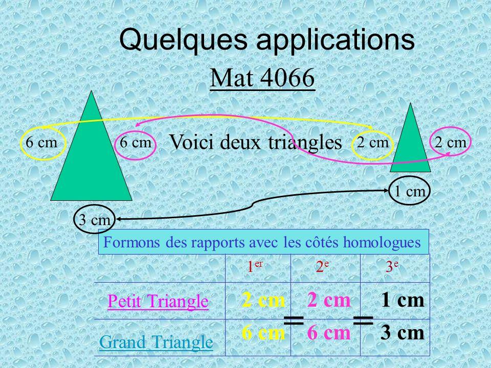 = = Quelques applications Mat 4066 Voici deux triangles 2 cm 2 cm 1 cm