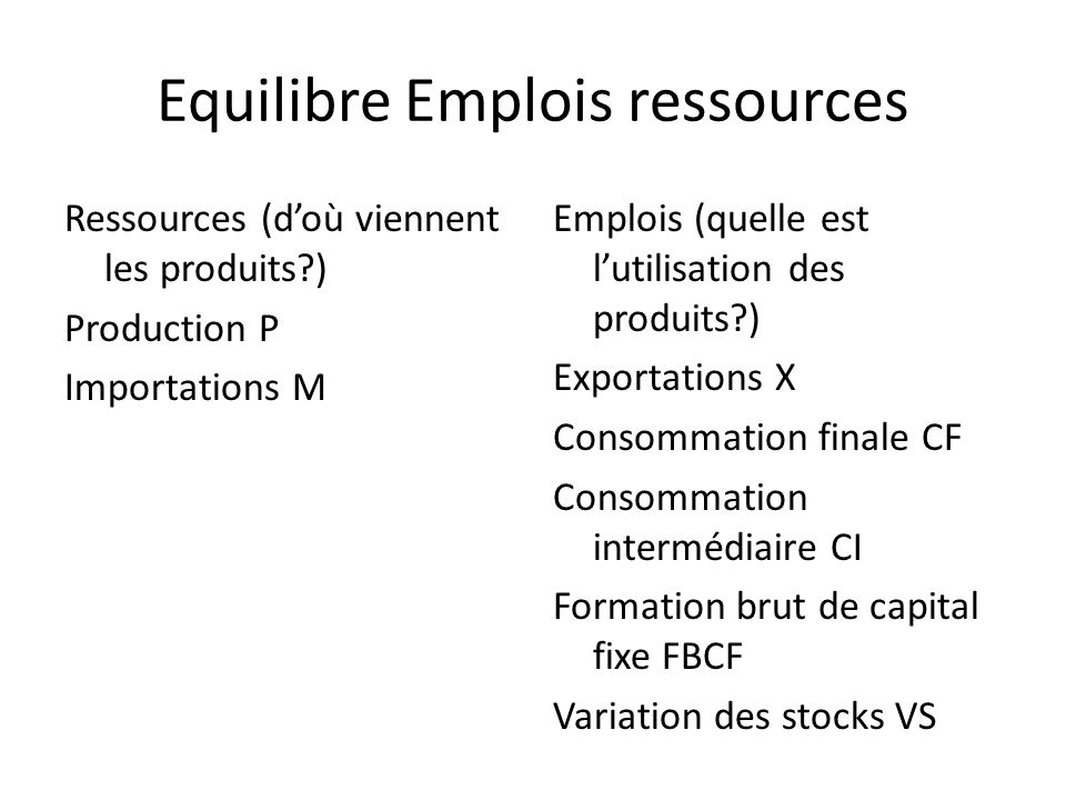 Equilibre Emplois ressources