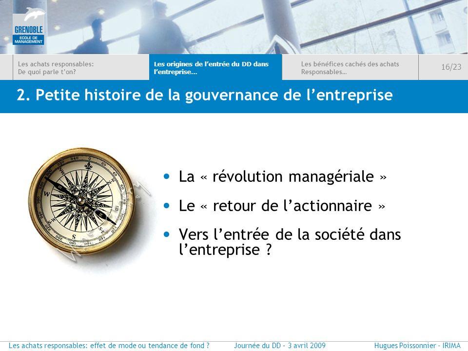 2. Petite histoire de la gouvernance de l'entreprise