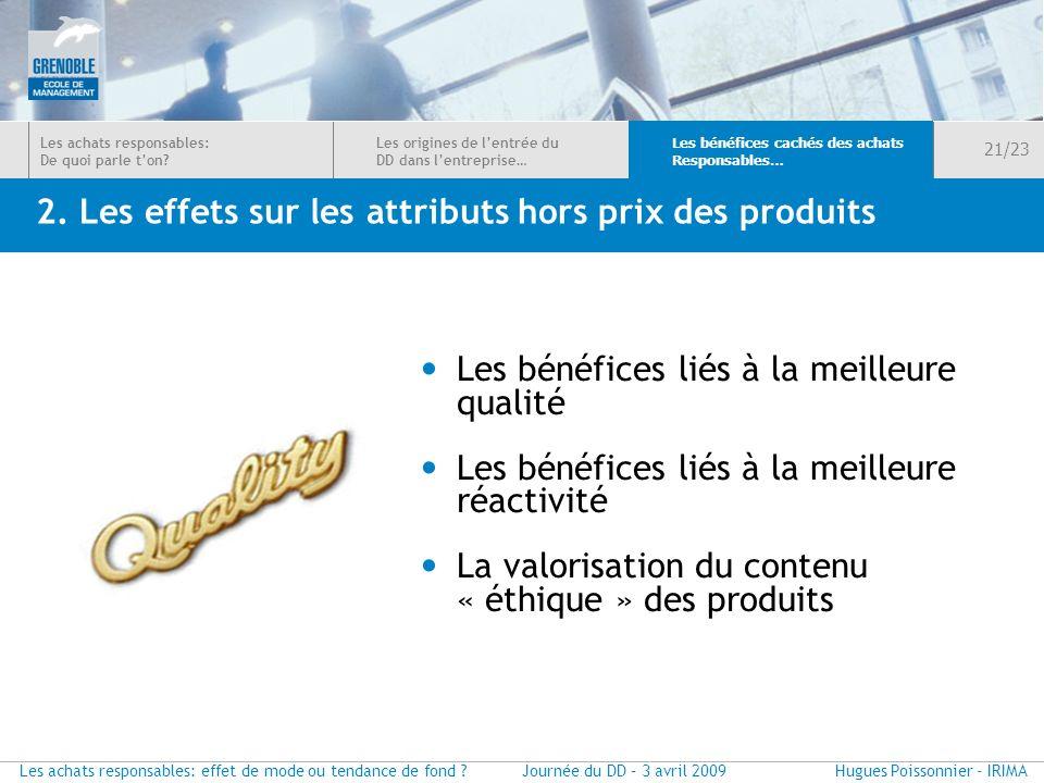 2. Les effets sur les attributs hors prix des produits