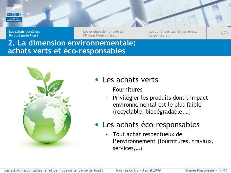 2. La dimension environnementale: achats verts et éco-responsables