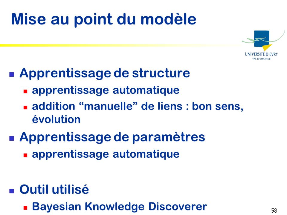 Mise au point du modèle Apprentissage de structure
