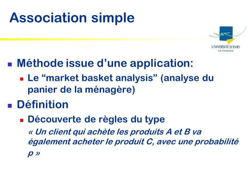 Association simple Méthode issue d'une application: Définition