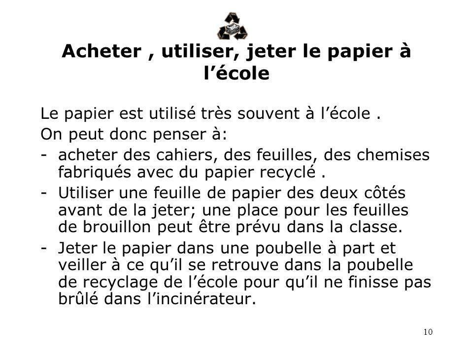 Acheter , utiliser, jeter le papier à l'école