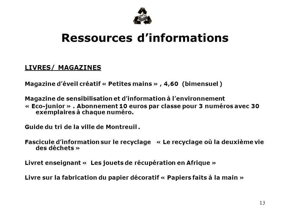 Ressources d'informations