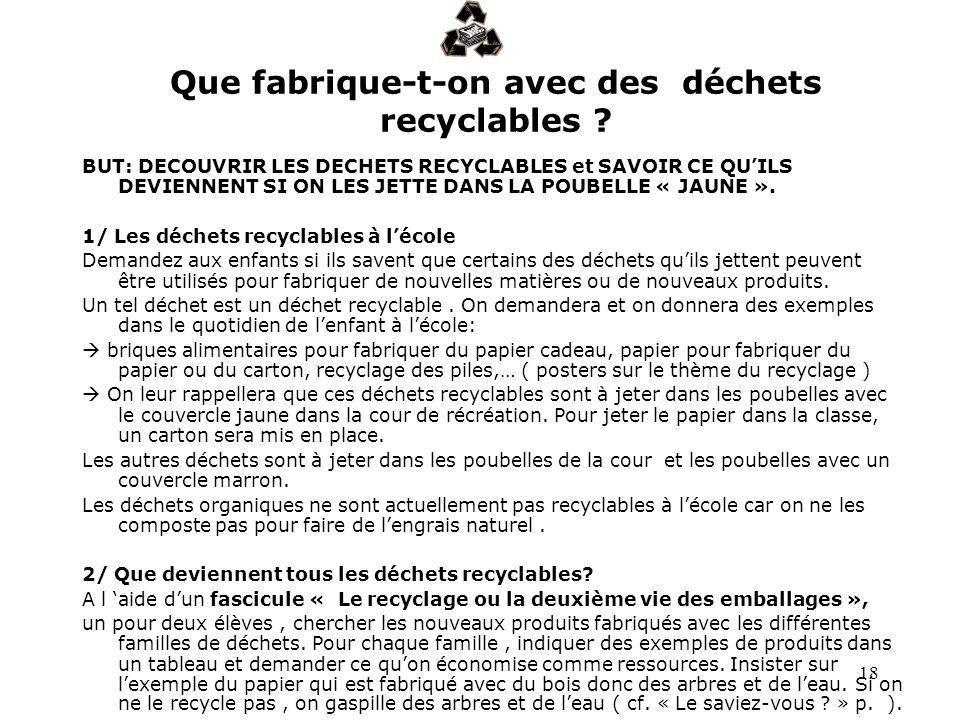 Que fabrique-t-on avec des déchets recyclables