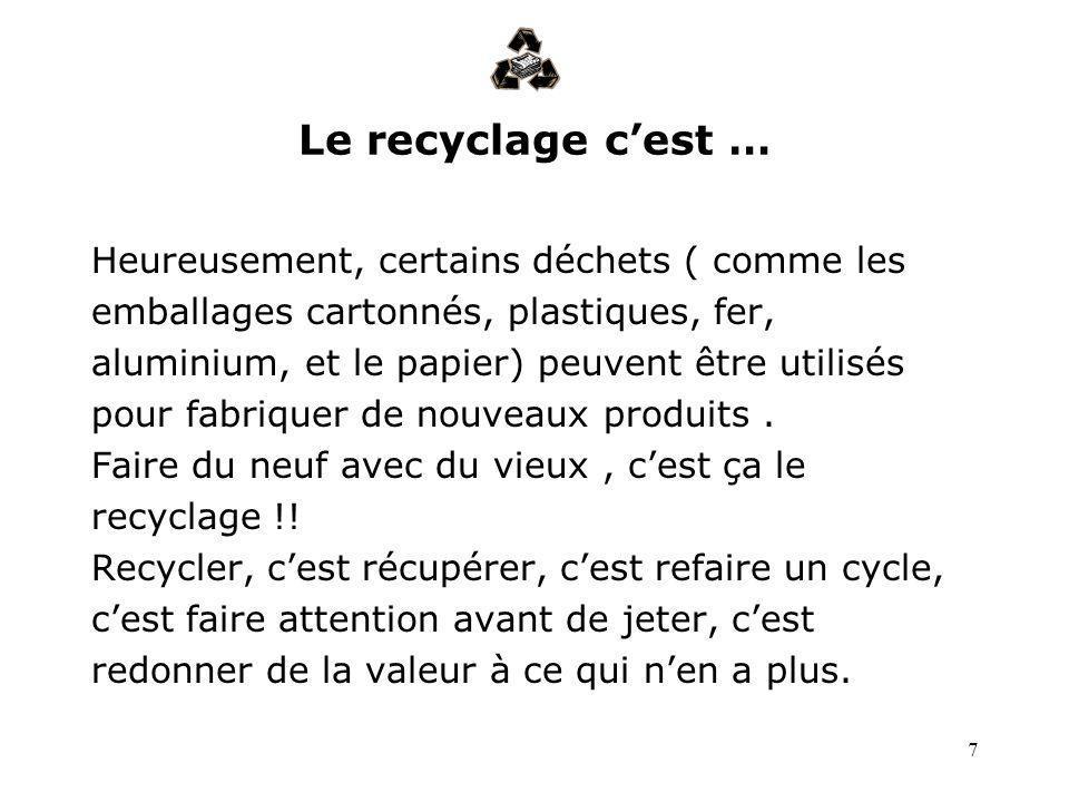 Le recyclage c'est … Heureusement, certains déchets ( comme les