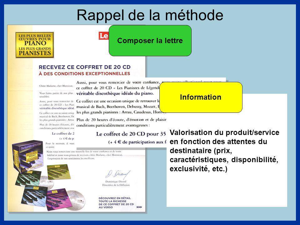 Rappel de la méthode Composer la lettre Information