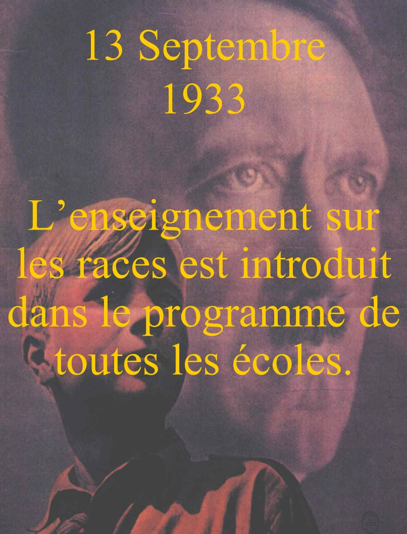 13 Septembre 1933 L'enseignement sur les races est introduit dans le programme de toutes les écoles.