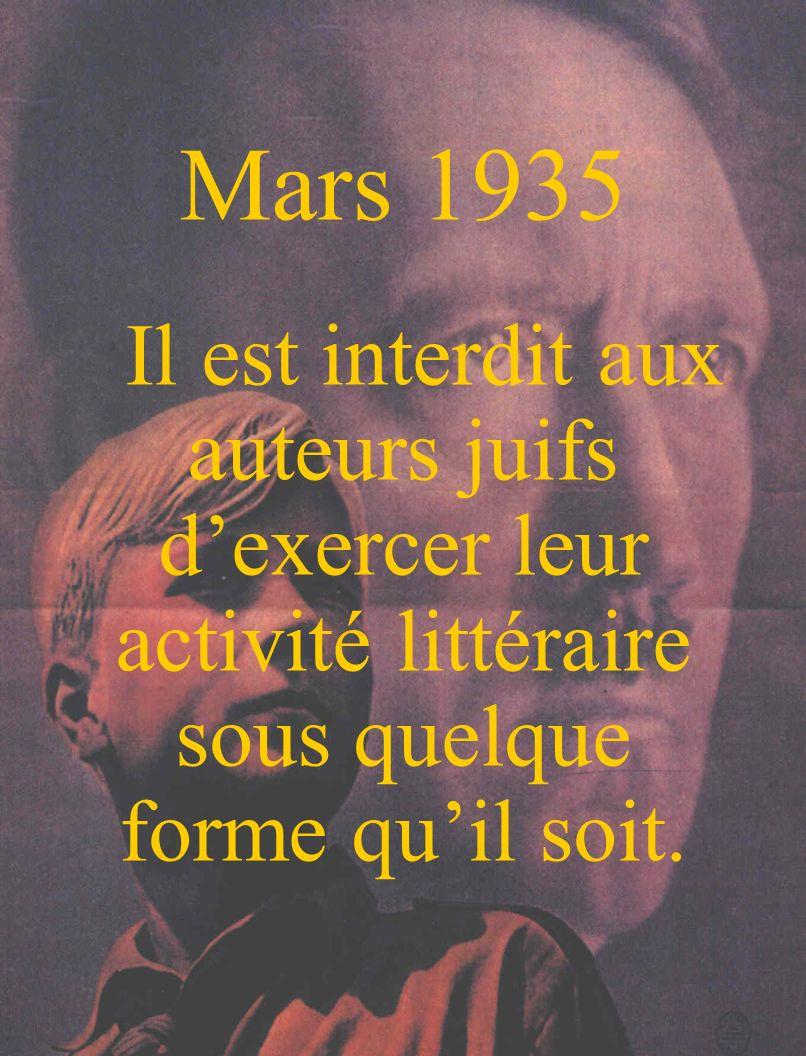 Mars 1935 Il est interdit aux auteurs juifs d'exercer leur activité littéraire sous quelque forme qu'il soit.