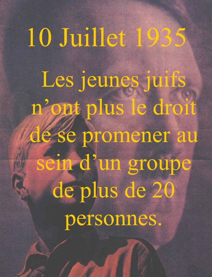 10 Juillet 1935 Les jeunes juifs n'ont plus le droit de se promener au sein d'un groupe de plus de 20 personnes.
