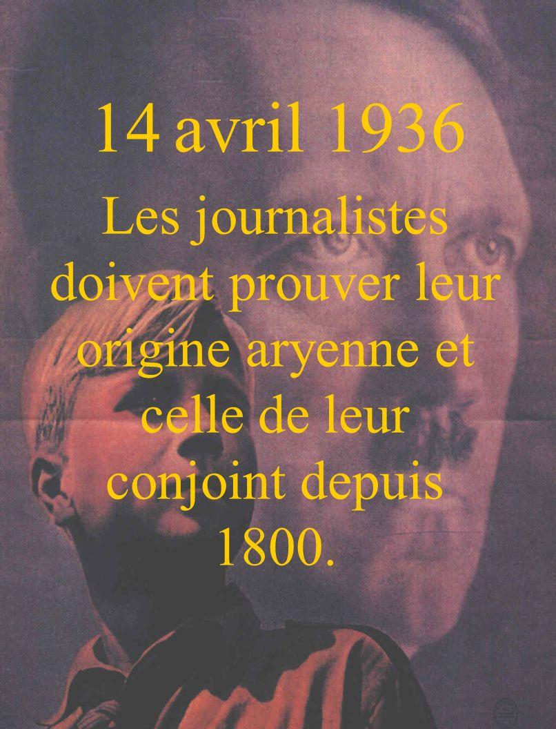 14 avril 1936 Les journalistes doivent prouver leur origine aryenne et celle de leur conjoint depuis 1800.