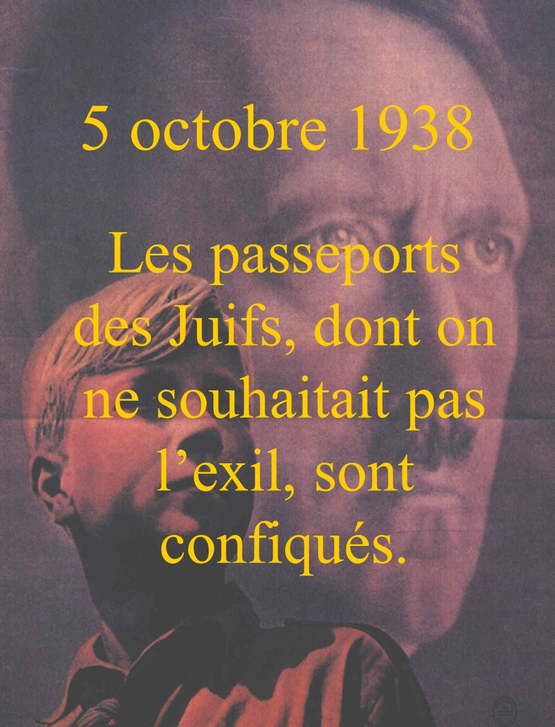 5 octobre 1938 Les passeports des Juifs, dont on ne souhaitait pas l'exil, sont confiqués.