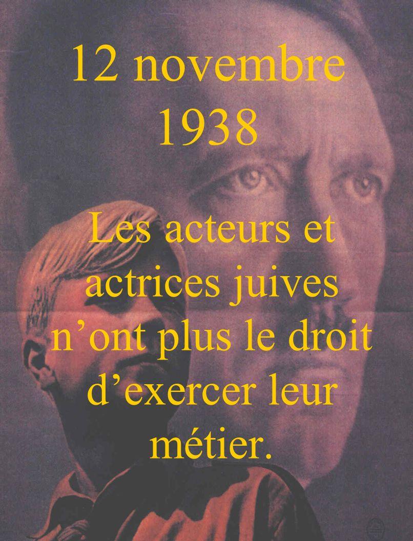 12 novembre 1938 Les acteurs et actrices juives n'ont plus le droit d'exercer leur métier.