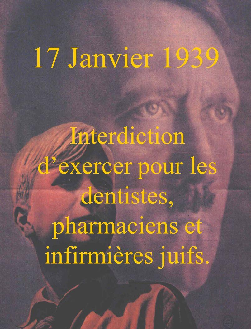 17 Janvier 1939 Interdiction d'exercer pour les dentistes, pharmaciens et infirmières juifs.