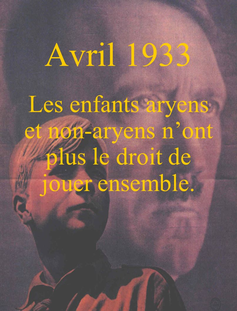 Avril 1933 Les enfants aryens et non-aryens n'ont plus le droit de jouer ensemble.