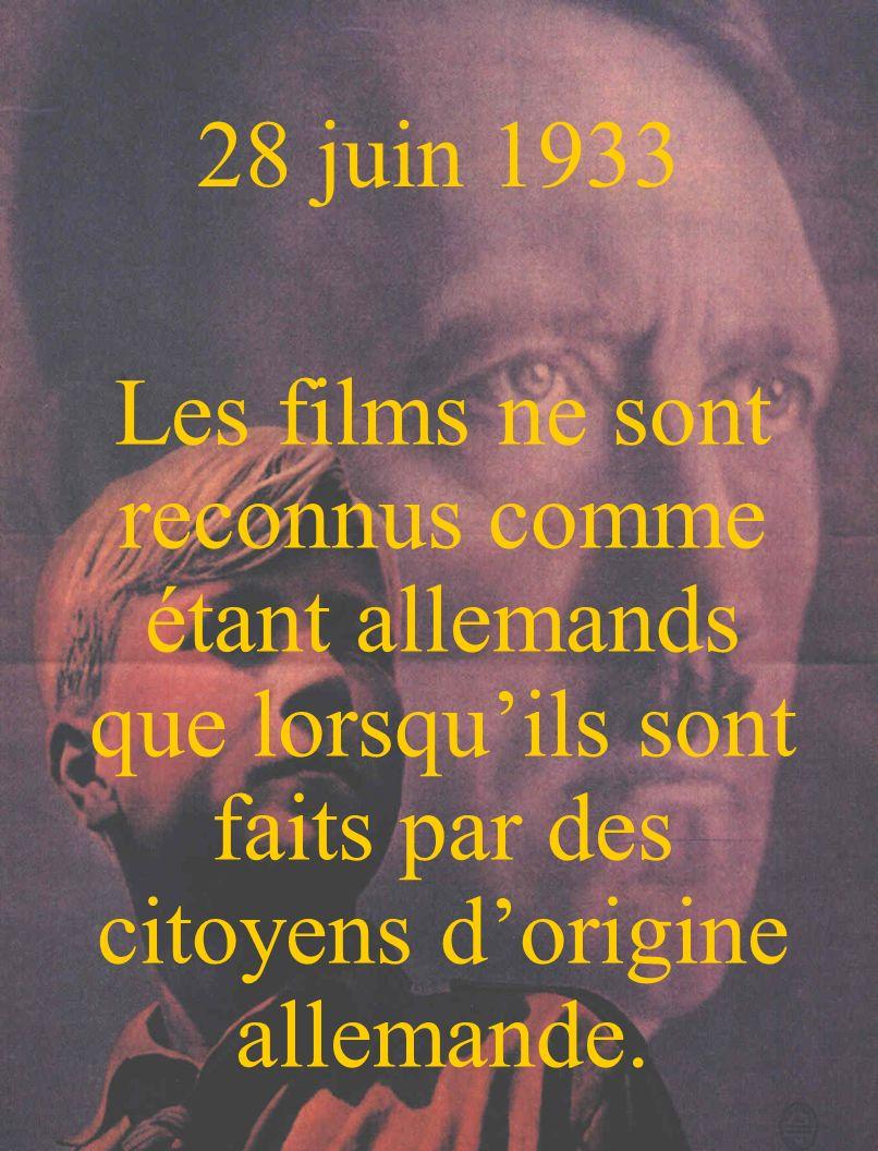 28 juin 1933 Les films ne sont reconnus comme étant allemands que lorsqu'ils sont faits par des citoyens d'origine allemande.