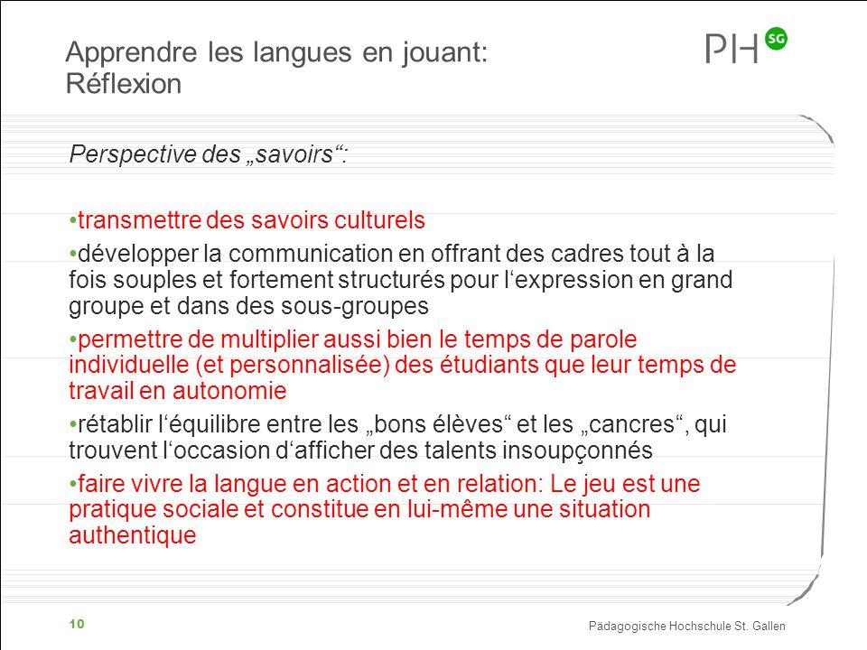 Apprendre les langues en jouant: Réflexion