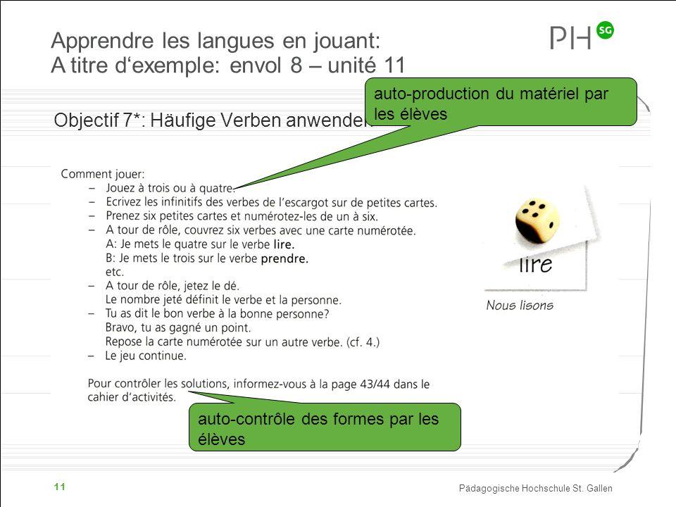 Apprendre les langues en jouant: A titre d'exemple: envol 8 – unité 11